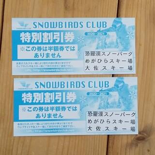 SNOWBIRDS CLUB 特別割引券 2枚(その他)