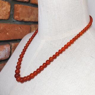 天然石 ネックレス メノウ 赤系 最大約10㎜ 最小約5㎜ 長さ約50㎝(ネックレス)