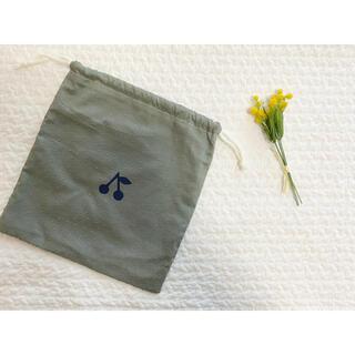 ボンポワン(Bonpoint)のハンドメイド チェック&ストライプ ドットミニオン ミンティ さくらんぼ 巾着(外出用品)