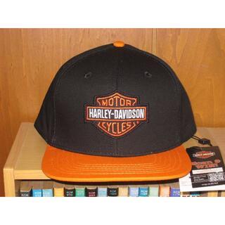 ハーレーダビッドソン(Harley Davidson)の【新品・即決】ハーレーキャップ(フラットキャップ・HDロゴ)★黒/オレンジ★(キャップ)