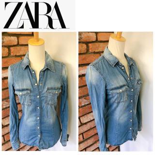 ザラ(ZARA)のZARA BASIC ザラ デニム シャツ ブルー系 XSサイズ(シャツ/ブラウス(長袖/七分))