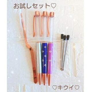 お試しセット お花柄 ハーバリウム ボールペン 3色 替え芯 ピンセット(その他)