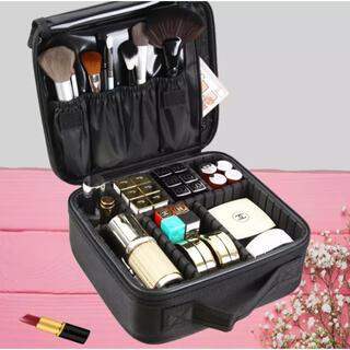 メイクボックス   化粧品ボックス 大容量 防水 旅行にも 〈ブラック〉 新品(メイクボックス)