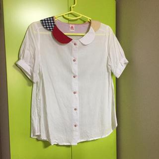 メルロー(merlot)の丸襟*柄襟*白シャツ(シャツ/ブラウス(半袖/袖なし))