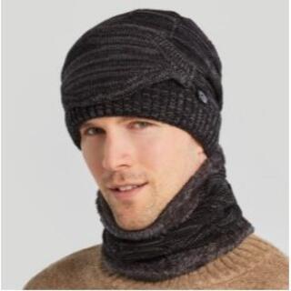 【ブラック】ニット帽 ネックウォーマー マスク 3点セット 3Way フェイスマ(ニット帽/ビーニー)