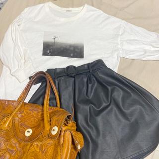 グリモワール(Grimoire)のバルーン袖  7分袖 プリント入りモノクロトップス(Tシャツ/カットソー(七分/長袖))
