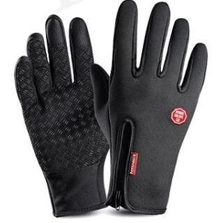 タッチパネル手袋 サイクルグローブ 滑り止め チャック付き スマホ対応 撥水(手袋)