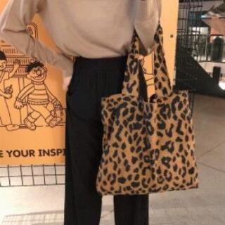 【トートバッグ型】ヒョウ柄 コーデュロイ素材 ソフトバッグ ショッピングバッグ (トートバッグ)