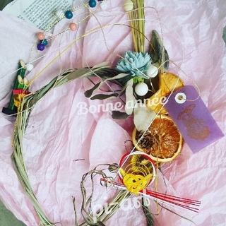 5[ラクマ便]5水色花レモングラスドライフルーツ和モダン(ドライフラワー)