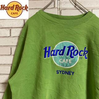 90s 古着 ハードロックカフェ USA製 アースカラー グリーン ゆるだぼ(スウェット)