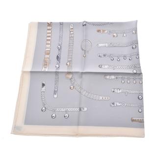 エルメス(Hermes)のエルメス  カレ90 チェーンモチーフ スカーフ グレー(バンダナ/スカーフ)