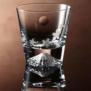 富士山 ロックグラス 桜と月 田島硝子(グラス/カップ)