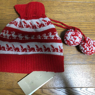 バーバリー(BURBERRY)のBURBERRY 赤ニット帽 男女兼用(ニット帽/ビーニー)