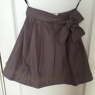 イプダ(epuda)のepudaリボン付きフレアスカート☆ブラウン茶色レースイプダ膝丈スカート(ひざ丈スカート)