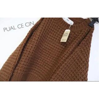 ピュアルセシン(pual ce cin)の新品 ピュアルセシン ワッフルニットプルオーバー キャメル(ニット/セーター)