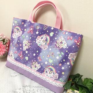 レッスンバック★虹色ユニコーン ゆめかわ パープル系 絵本袋(バッグ/レッスンバッグ)