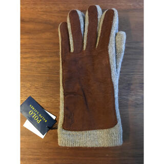 ポロラルフローレン(POLO RALPH LAUREN)の新品タグ付 ラルフローレン手袋(革も使用)ベージュ レディースフリー 学生(手袋)