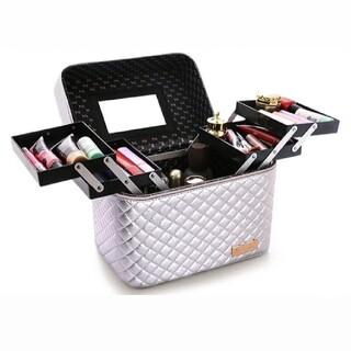メイクボックス コスメボックス 鏡付き 化粧品 収納 コスメ ジュエリー 銀 *(メイクボックス)