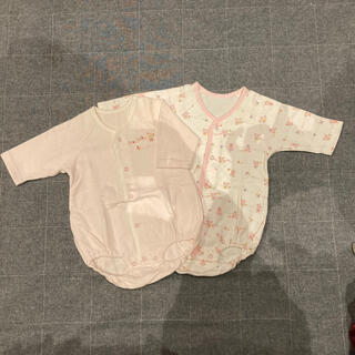 ニシキベビー(Nishiki Baby)の☆可愛いクマと犬とウサギの長袖ロンパス2枚組☆70cm(肌着/下着)