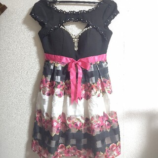 an - アン an 胸開き ドレス 花柄 チェック キャバクラ ドレス