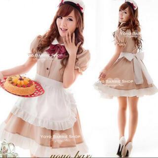 メイド服 豪華6点セット♪モカベージュ色 メイド喫茶 コスプレ衣装(衣装一式)