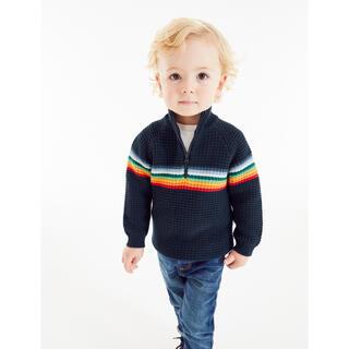 ネクスト(NEXT)のネイビー - レインボーストライプ ジップネックセーター (3 か月~7 歳)(ニット/セーター)
