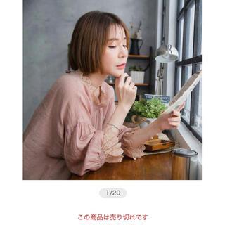 [新品紙タグ付き] 袖口の綿刺繍フリルレースが可愛いピンク色のブラウス(シャツ/ブラウス(長袖/七分))
