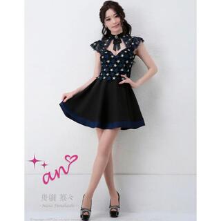 アン(an)の2857*スター刺繍ドレス/リボンブローチ/フレアワンピース(ナイトドレス)