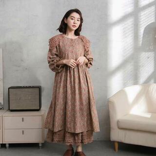 [新品紙タグ付き] リネン100%綿刺繍レースセーラー襟が可愛いワンピース(ロングワンピース/マキシワンピース)