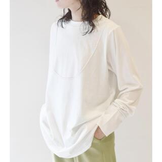 ダブルクローゼット(w closet)のTシャツ スモックシャツ風ロンTee/ロングTシャツ/ロンT/オフホワイト/新品(Tシャツ(長袖/七分))