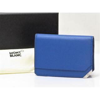 MONTBLANC - モンブラン レザー カードケース 未使用 青 ブルー イタリア製