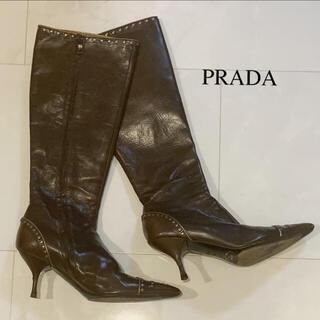 プラダ(PRADA)のプラダ PRADA スタッズ ブーツ ブラウン(ブーツ)