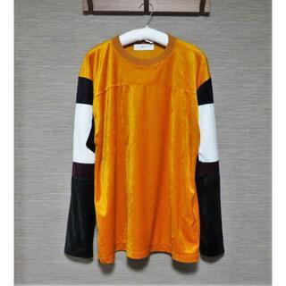 トーガ(TOGA)の定価2.7万 TOGA VIRILIS ベロア カットソー 48 オレンジ(Tシャツ/カットソー(七分/長袖))