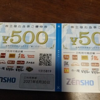ゼンショー株主優待券1000円(フード/ドリンク券)