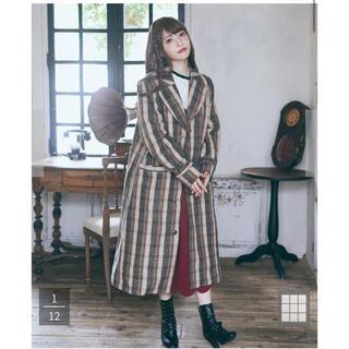 メゾンドフルール(Maison de FLEUR)の定価以下 メゾンドフルールプチローブ ブリジットの女優さん風 チェックチェスター(ロングコート)