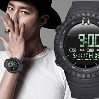 ■2020新入荷!■ダイバーズウォッチブラックフェイスドット 50M防水(腕時計(デジタル))