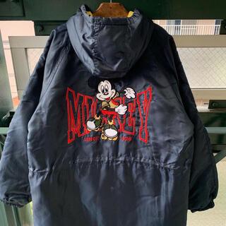 ディズニー(Disney)の90s Disney 刺繍 中綿コート mickey ベンチコート オフィシャル(ナイロンジャケット)