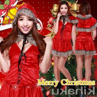 bd15コスプレ サンタ 衣装 サンタトップ フード付 サンタコスプレ スカート(衣装一式)