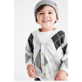 ネクスト(NEXT)のグレー - アーガイル柄ボタンスルーカーディガン (3 か月~7 歳)(ニット/セーター)