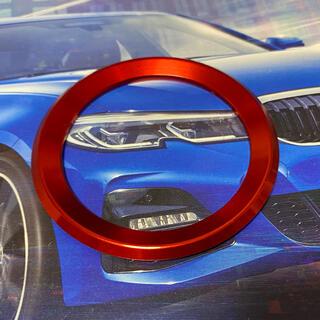 ビーエムダブリュー(BMW)のBMW ドレスアップ!アルミ製ステアリングセンターリング レッド 新品(車種別パーツ)