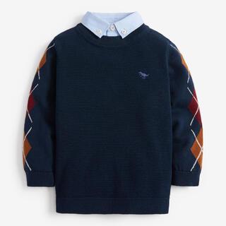 ネクスト(NEXT)のネイビー - 襟付き アーガイル柄 セーター (3 か月~7 歳)(ニット/セーター)