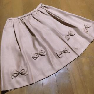 ボンメルスリー(Bon merceie)の新品未使用♡アナトリエ リボン付きフレアスカート ベージュ(ひざ丈スカート)