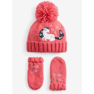 ネクスト(NEXT)のピンク - ユニコーンアップリケ ビーニー帽 & ミトンセット (ヤンガー)(その他)