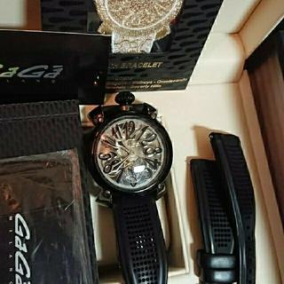 ガガミラノ(GaGa MILANO)の【正規レア】ガガミラノ マヌアーレ48MM クリスタル 3点セット(腕時計(アナログ))