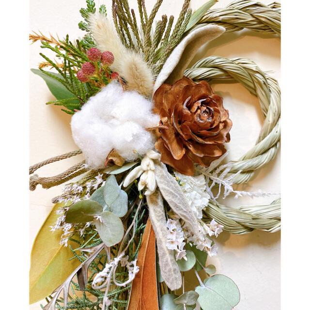 ドライフラワー ネイティブフラワー しめ縄 リース お正月飾り ハンドメイドのフラワー/ガーデン(ドライフラワー)の商品写真