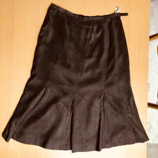 ハナエモリ(HANAE MORI)の再値下げ 美品 ハナエモリ スカート(ヌバック調)  40  コゲ茶色(ひざ丈スカート)
