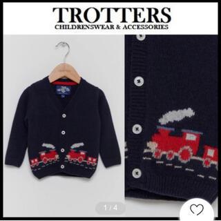 プチバトー(PETIT BATEAU)の新品 TROTTERS カーディガン☆蒸気機関車デザイン(ニット/セーター)