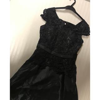 ◆発表会パーティ司会演奏会◆新品上質◆黒レース袖付きロング◆(ロングドレス)