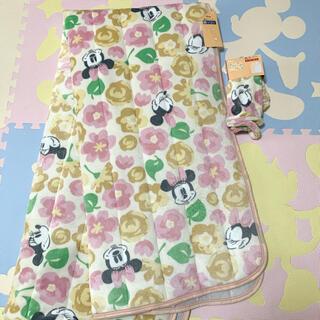ディズニー(Disney)の新品☆ディズニー ミニーマウス 花柄 フラワー 敷パッド 枕カバー フランネル(シーツ/カバー)