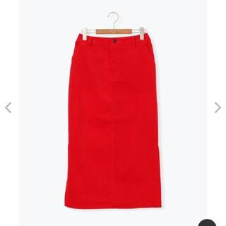 サマンサモスモス(SM2)のルノンキュール 真赤 細コールタイトスカート(ロングスカート)